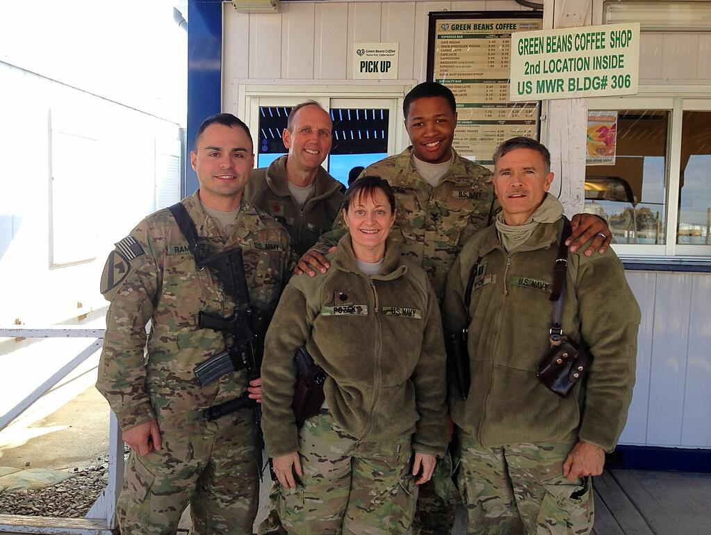 Dr. Skip with service men and women