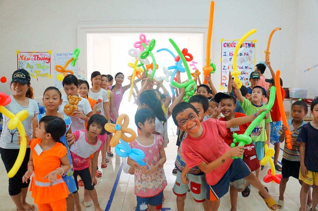 Campers gathered at Camp Colors of Love in Ho Chi Minh City, Vietnam