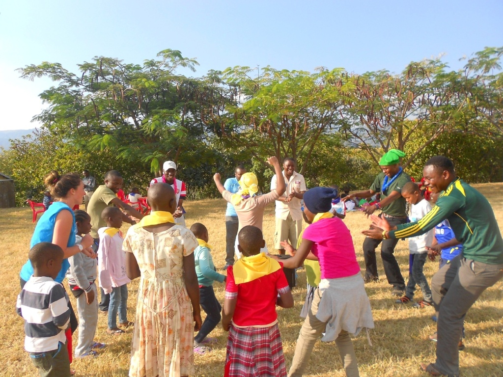 Campers dancing at Salama Camp in Mbeya, Tanzania